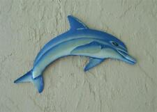 """OUTDOOR HAITIAN 18"""" METAL BLUE AND WHITE DOLPHIN HANGING TROPICAL WALL ART DECOR"""
