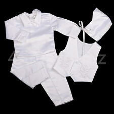 4 Pcs Embroidery Baptism Christening Long Suit Hat White Baby Boy Size 00 #020