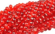 100 Red Ruby Czech Glass Tear Drop Teardrops Beads 6MM