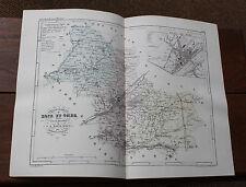1850 Carte Géographique Atlas époque couleur Département 41 Loire et Cher Blois