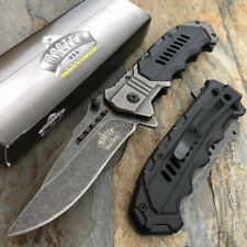 Silver/Black Military Style Spring Assisted Survival Camping Rescue Pocket Knife