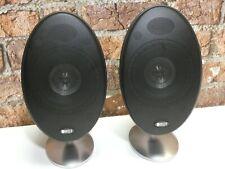 Pair Of KEF E301 Matte Black Finish Surround Sound Loudspeakers + Metal Stands