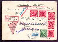 Bund 1954 - Schöne Posthorn-Frankatur auf Einschreibe-Nachnahme Retoure (070)