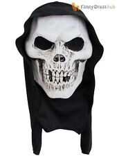 Adults Skull Hooded Terror Mask Mens Skeleton Halloween Fancy Dress Accessory