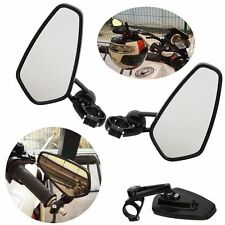 """7/8"""" ALUMINUM REAR VIEW SIDE MIRROR HANDLE BAR END OVAL BLACK FOR MOTORCYCLE"""