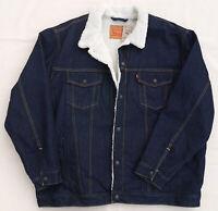 LEVIS Sherpa Trucker Denim Jean Jacket Dark Blue Cotton Rare Warm Men's 4XL