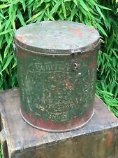 Vintage Large Indian Metal Steel Container Storage Hinged Lid Original Paint