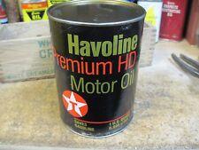 TEXACO HAVOLINE PREMIUM MOTOR oil 1 QT can ORIGINAL GAS SERVICE STATION vintage