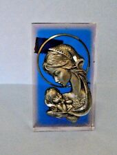 Madonna & Child Blessed By Pope Benedict 88% Pure Pewter Clear W/Blue Cube Italy