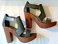Next Ladies Black Leather Apron Wood Effect Block Heel Platform Sole Sandals 8