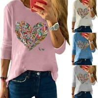 Womens Heart Printed Pullover Ladies Long Sleeve Blouse Crew Neck Blouse T Shirt