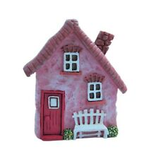 Miniature Fairy Garden Pink Hanging House Facade w/ White Bench - Buy 3 Save $5