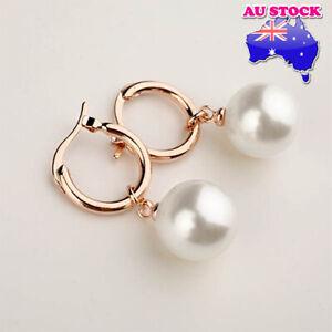 Wholesale 18K Rose Gold Filled 12mm Shell Cream Pearl Hoop Earring Gift