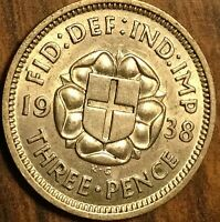 1938 UK GREAT BRITAIN SILVER THREEPENCE CIRCULATED