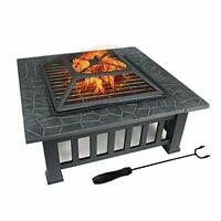 FOBUY Fire Pit with BBQ Grill Shelf,Outdoor Metal Brazier Square Table Firepit