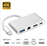 USB 3.1 Type C Hub to HDMI 4K+ RJ45 Gigabit Ethernet+ USB 3.0 HDMI USB C Adapter