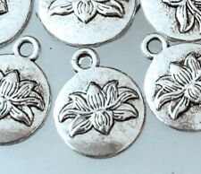 10 Lotus Flower Charms Antique Silver Pewter Water Lily Charm Yoga 16x13mm