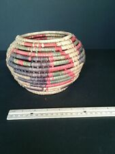 Handmade Multicolor Wicker Basket From New Mexico