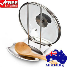 Stainless Steel Spoon Holder Pot Lid Shelf Cooking Rack Pan Cover Stand Kitchen