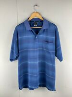 Jack Newton Men's Short Sleeve Casual Golf Polo Shirt Size XL Blue White Stripe