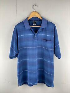Jack Newton Men's Short Sleeve Casual Golf Polo Shirt Size XL Blue White Stripe