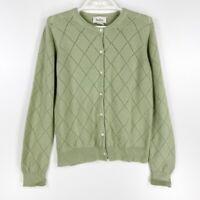 Neiman Marcus Womens Cardigan Sweater Green 100% Cashmere Diamond Long Sleeve S