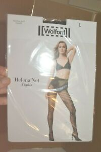 Wolford Noir Helena Filet Collant Poisson / Floral Neuf Grand Org $67 non-Ouvert