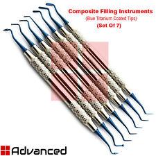 7Pcs Dental Composite Filling Instrument Blue Titanium Coded Restorative Spatula