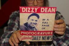 Vintage 1940's Dizzy Dean Chicago Cubs Baseball Saturday Daily News Gas Oil Sign