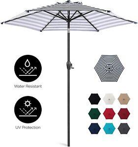 7.5 ft Heavy-Duty Outdoor Patio Umbrella w/Push Button Tilt, Easy Crank Lift NEW