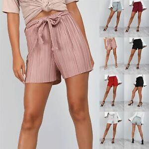 Womens Hot Pants Ribbed Holiday Ladies Summer Beach High Waisted Bottom Shorts