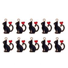 10Pcs/Set Enamel Alloy Cat Love Heart Charms Pendant Jewelry DIY Making Cra,XBD