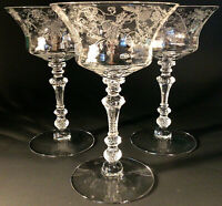 "CAMBRIDGE GLASS CHAMPAGNE SHERBET GLASSES ETCHED ELAINE 6 3/8"" #3500 SET OF 3"