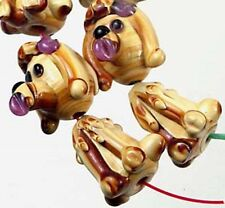 Lampwork Handmade Poodle Focal Pendant Beads (4 sets)