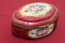 Limoges Hinged Porcelain Gilt Bronze Jewelry Dresser Trinket Floral