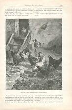 Ferme Basse-Cour Poules Coq dessin de Charles Jacques  GRAVURE OLD PRINT 1887