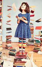 NWT Mini Boden Roald Dahl Girl Blue Cord Matilda Alphabet Dress 7 8