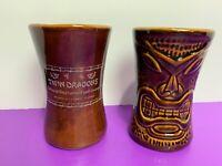 Brown Tiki Mug Lot of 2 Daga Hawaii Twin Dragons Vintage Hourglass Shape Florida