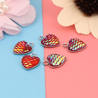 10Pcs Mermaid Fish Scale Charms Heart Pendant for Jewelry Necklace Accessories