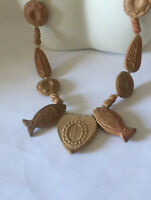 Old Vintage Mexican Aztec Clay Terracotta Fish Sun Necklace