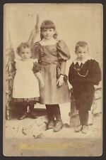 Gosport. Hampshire. 3 Little People from Gosport. Cabinet Card Photo by Harvey