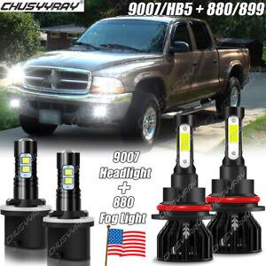 For Dodge Dakota 1998 1999 2000 Combo 9007 LED Headlight 880 Fog Light Bulbs Kit
