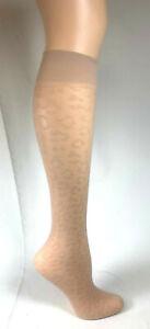 4 pr - Knee Highs--Samples - One Size - Leopard Pattern knee highs - Skintone