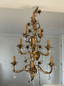 "36""Italian Gilt Tole Grape Cluster Sconces Hollywood Regency Lamp Wall Light"