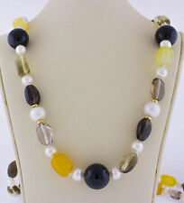 14K Yellow Gold Black Onyx South Sea Pearl Citrine, Pearl, Topaz Beaded Necklace