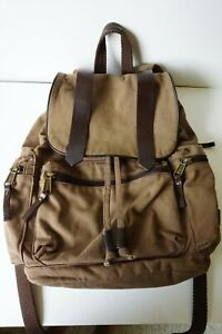 Duluth Trading Company Canvas+Leather Backpack Brown