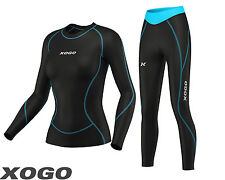 Women's Compression Top Long Sleeve Base Layer Running Gym Training Tights Set