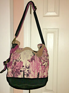 Lucky Brand (Purple/Pink/Creme/Black/Canvas/Floral/Suede Trim) Crossbody-LARGE