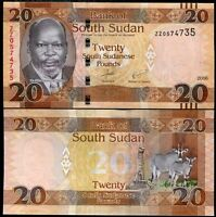 SOUTH SUDAN 20 POUNDS 2016 / 2017 P NEW DATE ZZ REPLACEMENT UNC
