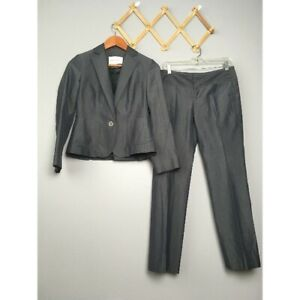 Banana Republic Gray Wool Blend 2 Piece Suit Workwear Petite Sz 2P Pants Sz 0